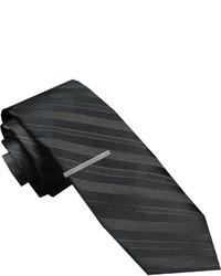 JF J.Ferrar Jf J Ferrar Textured Tonal Tie And Tie Bar Set Skinny