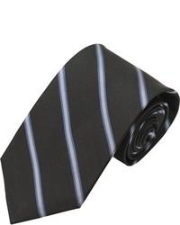 Alara Modern Width Black And Grey Tonal Stripe Silk Tie