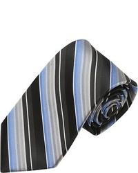 Alara Modern Width Black Multi Stripe Silk Tie