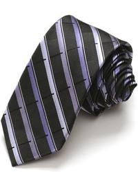 Alara Narrow Width Black And Purple Sophisticated Stripe Silk Tie