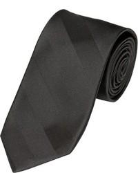 Alara Narrow Width Tonal Black Stripe Silk Tie