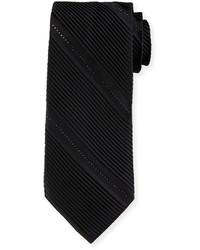 Stefano Ricci Pleated Silk Tie Wcrystal Embellisht Black
