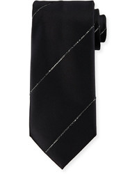 Stefano Ricci Silk Tie Wcrystal Stripe Black