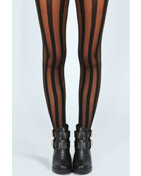 Boohoo jenna sheer with solid thick stripe tights medium 102363