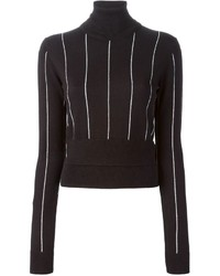 Black Vertical Striped Turtleneck