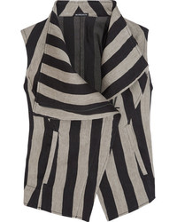 Ann Demeulemeester Printed Striped Linen Blend Vest Black