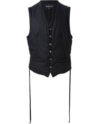 Black Vertical Striped Waistcoat