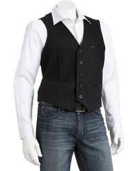 Marc Anthony Slim Fit Striped Welt Pocket Vest Big Tall