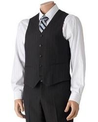 Savile Row Striped Black Suit Vest