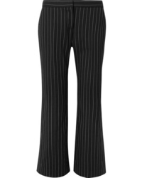 Alexander McQueen Cropped Pinstriped Wool Blend Flared Pants