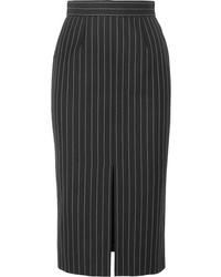 Alexander McQueen Pinstriped Wool Blend Pencil Skirt