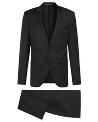 Hugo Boss Hairline Striped Wool Suit Extra Slim Fit Adrisheibo 42l Black