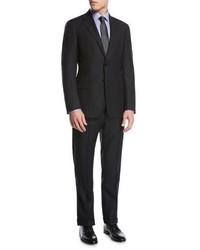 Giorgio Armani Striped Virgin Wool Two Piece Suit Black