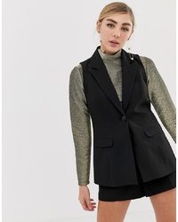Miss Selfridge Tailored Waistcoat In Black