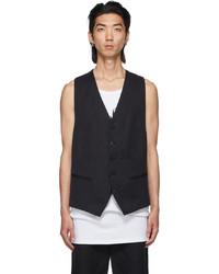 Ann Demeulemeester Black Cotton Linen Vest