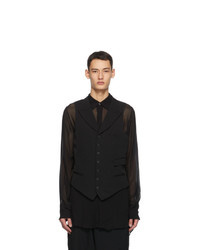 Yohji Yamamoto Black Wool Peaked Vest