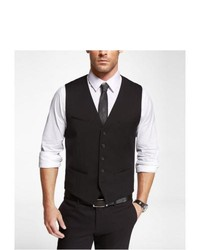 Express Stretch Wool Suit Vest Black X Small