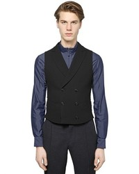 Giorgio Armani Stretch Viscose Wool Blend Cloqu Vest