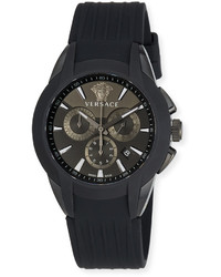 Versace 425mm Character Chronograph Watch W Silicon Strap Black