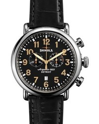 Shinola 47mm Runwell Chronograph Watch Black