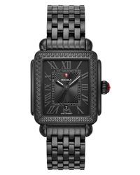 Michele Deco Madison Noir Diamond Dial Watch Head Bracelet