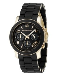 Michael Kors Michl Kors Chronograph Runway Gold Tone Stainless Steel And Black Polyurethane Bracelet Watch 38mm Mk5191