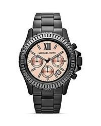 Michael Kors Michl Kors Mid Size Black Everest Chronograph Glitz Watch 415mm