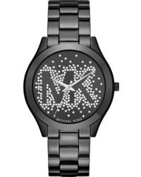 MICHAEL Michael Kors Michl Michl Kors 42mm Slim Runway Glitz Bracelet Watch Black