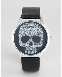 Asos Monochrome Watch With Skull Design