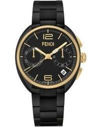 Fendi Moto Goldtone Black Stainless Steel Chronograph Bracelet Watch