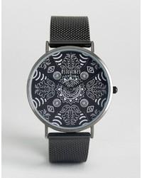 Reclaimed Vintage Paisley Mesh Watch In Black