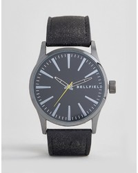 Bellfield Watch With Black Strap And Black Dial