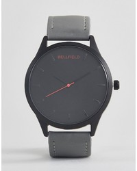 Bellfield Watch With Gray Strap And Black Dial