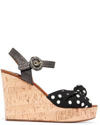Dolce & Gabbana Cady And Raffia Wedge Sandals Black