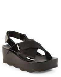 Prada Crisscross Wedge Slingback Sandals