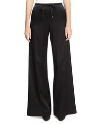 MCQ Alexander Ueen Wide Leg Casual Sateen Pants Black