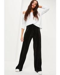Missguided Black Crinkle Wide Leg Pants