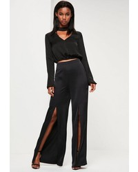 Missguided Black Satin Split Front Wide Leg Pants