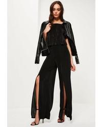 Missguided Black Slinky Split Front Wide Leg Trousers
