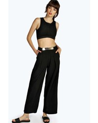 Boohoo Delila Gold Belted Wide Leg Pallazzo Trousers