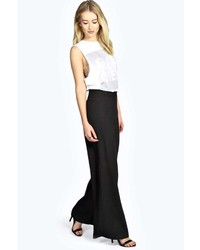 Boohoo Elana Tailored Wide Leg Solid Colour Trousers