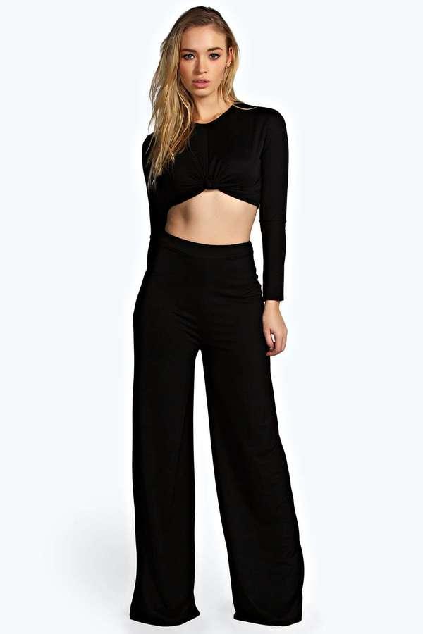 eec1c77e05 Boohoo Sally Slinky Wide Leg High Waisted Trousers, $26   BooHoo    Lookastic.com