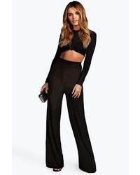 Boohoo Tina Black High Waisted Slinky Palazzo Trousers
