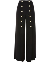 Topshop Gold Tone Button Wide Leg Trousers