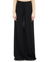Ji Oh Fluid Crepe Wide Leg Trousers Black