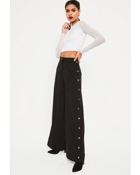 Missguided Black Wide Leg Side Popper Detail Trousers