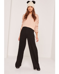 Missguided Ripple Wide Leg Trousers Black