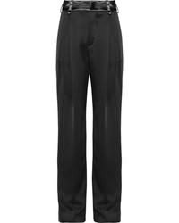 Lanvin Paneled Hammered Satin Wide Leg Pants Black