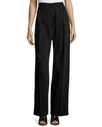 3.1 Phillip Lim Paper Bag High Waist Wide Leg Pants Black