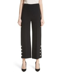Lela Rose Pearly Button Crop Wool Blend Pants